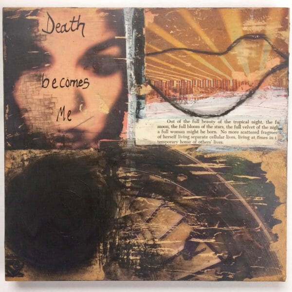 Death is a 9×9 Original Mixed Media Collage On Board by Kymberlee della Luce